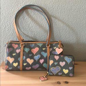 Dooney & Bourke hearts barrel purse with wallet